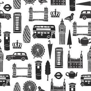London Block Print - Black & White Minimal,  Scandi, Monochrome by Andrea Lauren
