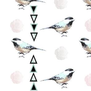 mosaic bird, floral entrianglement