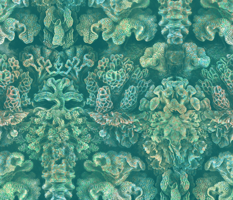 Haeckel Aquatica ~ Coral ~ Watermark  fabric by peacoquettedesigns on Spoonflower - custom fabric