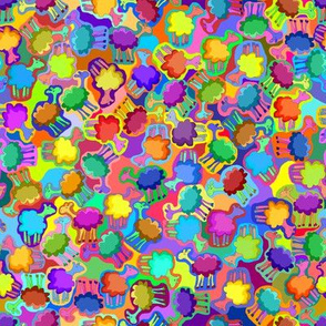 Jelly Bean Sheep - Easter Lamb - On Multicolor / Rainbow