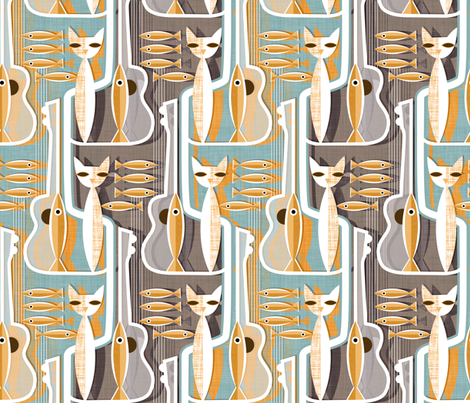 Cat Fish and Jazz Guitar fabric by spellstone on Spoonflower - custom fabric