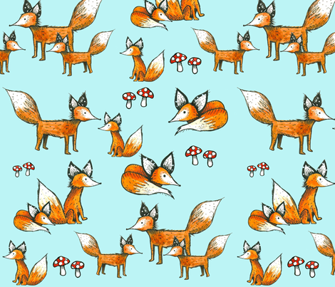 Foxes + Mushrooms on Blue fabric by taraput on Spoonflower - custom fabric