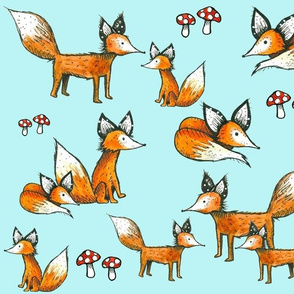 Foxes + Mushrooms on Blue