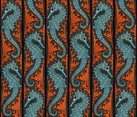 Seahorse Stripe Mosaic  fabric by peacoquettedesigns on Spoonflower - custom fabric