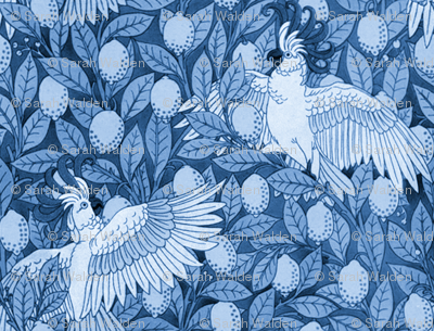 Laughing Cockatoos and Lovely Lemons ~ Blue and White