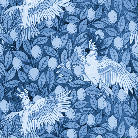 Laughing Cockatoos and Lovely Lemons ~ Blue and White fabric by peacoquettedesigns on Spoonflower - custom fabric