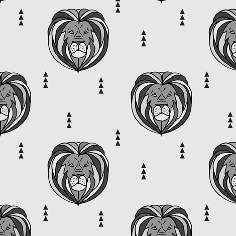 lion // grey fabric by littlearrowdesign on Spoonflower - custom fabric