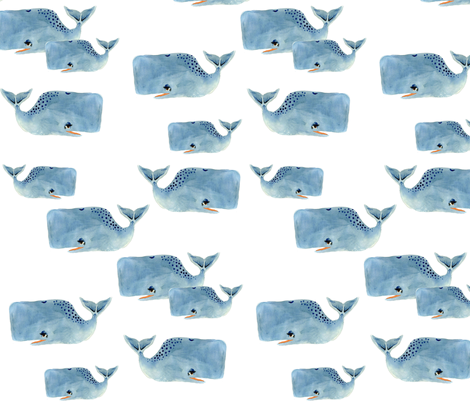 Whale Pod in Blue fabric by taraput on Spoonflower - custom fabric