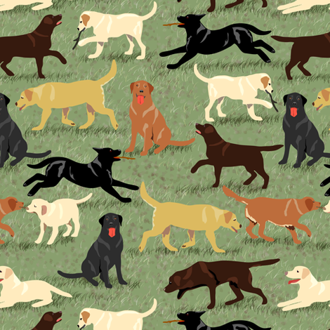Labradors Are Fetching fabric by eclectic_house on Spoonflower - custom fabric