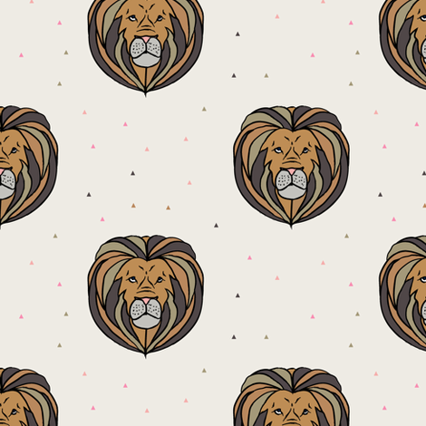 lion // neutrals fabric by littlearrowdesign on Spoonflower - custom fabric
