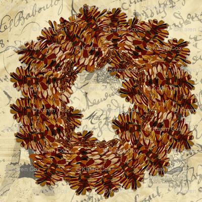 Pinecone Wreath on Parisian  French script