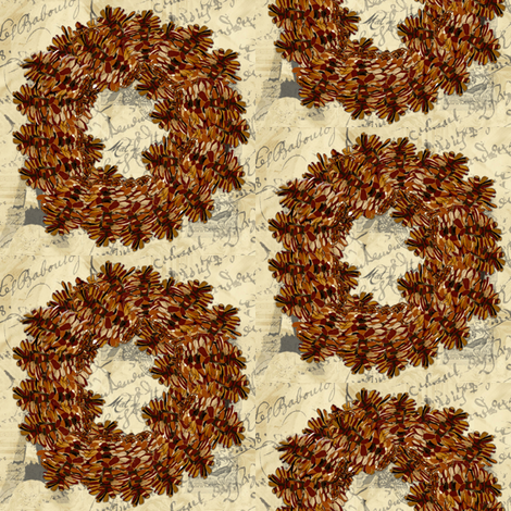 Pinecone Wreath on Parisian  French script fabric by karenharveycox on Spoonflower - custom fabric