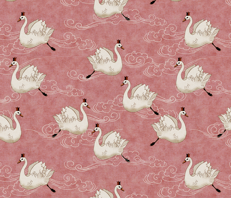 Valentine Swans  (Rose) fabric by nouveau_bohemian on Spoonflower - custom fabric