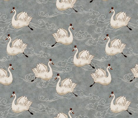 Valentine Swans (Pewter) fabric by nouveau_bohemian on Spoonflower - custom fabric
