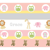 Garden Stripes Friends 1-Pink-personalized-ed