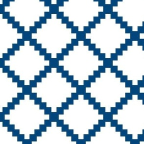 Aztec Trellis in Blue on White