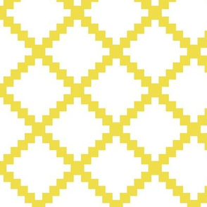 Aztec Trellis in Citron on White