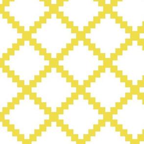 Aztec Trellis in Citron on White