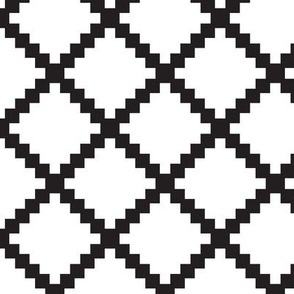 Aztec Trellis Black on White