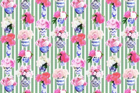 Ginger Jar Peony with Green  Greek Key Stripe fabric by danika_herrick on Spoonflower - custom fabric