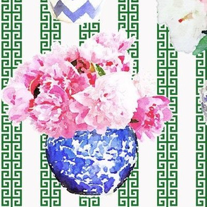 Ginger Jar Peony with Green  Greek Key Stripe