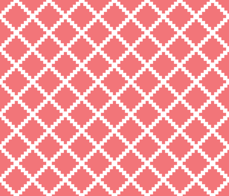 Aztec Trellis in Coral fabric by danikaherrick on Spoonflower - custom fabric