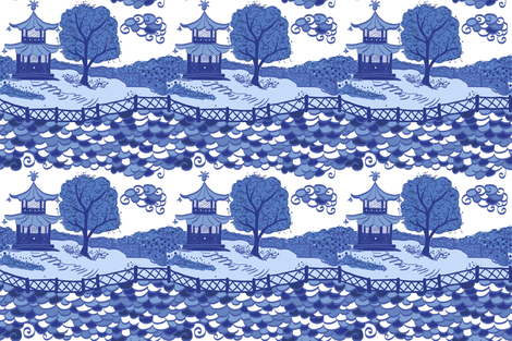 Cloud Pagoda in Blues fabric by danikaherrick on Spoonflower - custom fabric