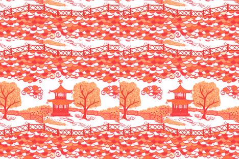 Pagoda cloud in Goldfish-CUSTOM LAYOUT fabric by danikaherrick on Spoonflower - custom fabric