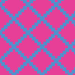 Aztec Trellis in Blue on Raspberry