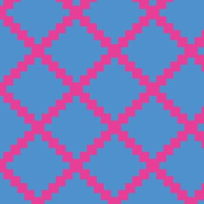 Aztec Trellis in Raspberry on Blue