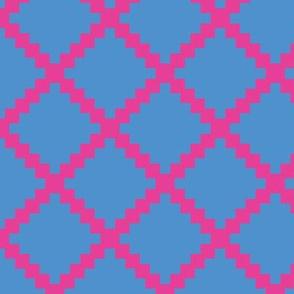 Aztec Trellis in Raspberry on Blue