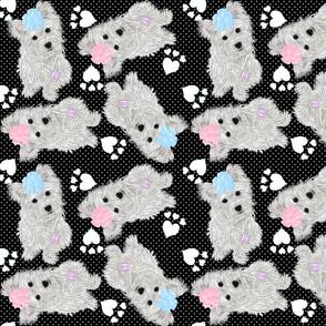 Westie - Tiling Westie Swiss Black Dot