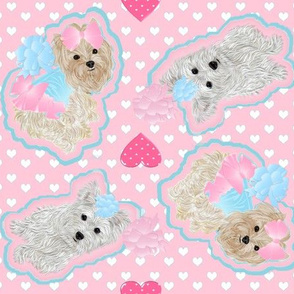 Yorkie Pink -  Hearts Galore