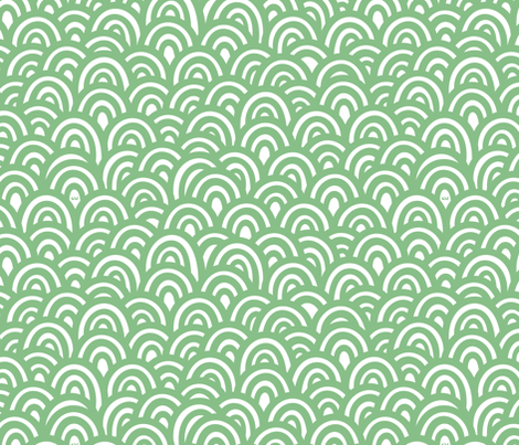 Emerald Clouds / Waves fabric by studio_amelie on Spoonflower - custom fabric