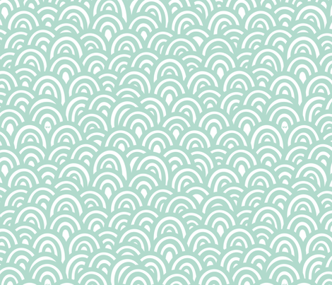 Minty Clouds / Waves fabric by studio_amelie on Spoonflower - custom fabric