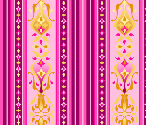 Arabian Nights - Ruby Stripe Wide fabric by caribuziak on Spoonflower - custom fabric