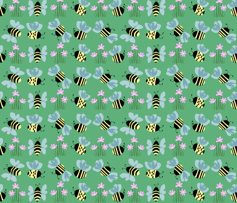 Bees & Flowers on green. fabric by alannah_brid on Spoonflower - custom fabric