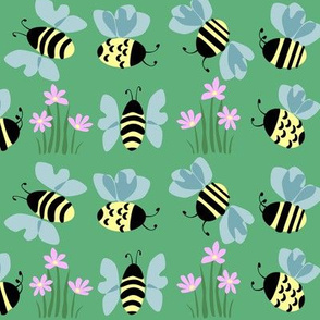Bees & Flowers on green.