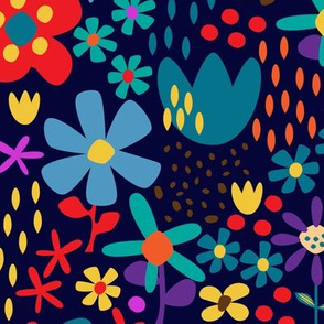 Retro Flowers- Dark