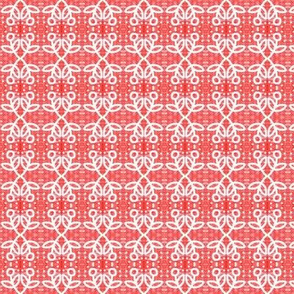 Crochet Lace Flowers Red White