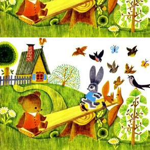 vintage countryside trees cottages flowers daisies bears see saw playing children birds rabbits bunny bunnies squirrels butterflies butterfly children