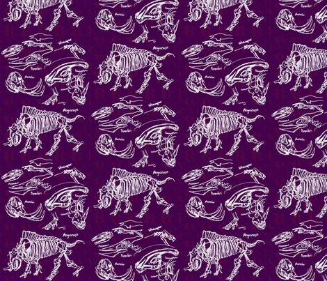 Dinosaur sketches purple fabric craftyscientists for Purple dinosaur fabric
