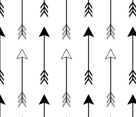 Large Black and White Arrows fabric by sierra_gallagher on Spoonflower - custom fabric
