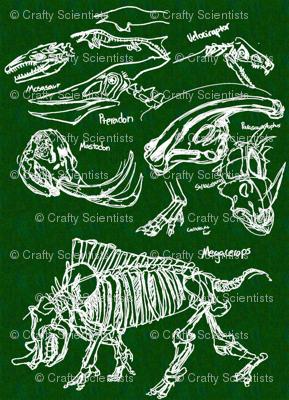 dinosaur sketches dark green