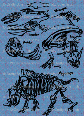 dinosaur sketches blue