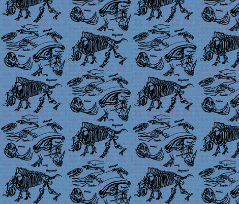dinosaur sketches blue fabric by craftyscientists on Spoonflower - custom fabric
