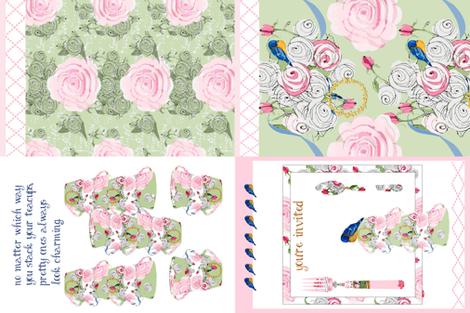 Shabby Chic Tea Towels Fabric By Karenharveycox On Spoonflower   Custom  Fabric