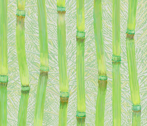 Horsetail fronds green fabric by wren_leyland on Spoonflower - custom fabric