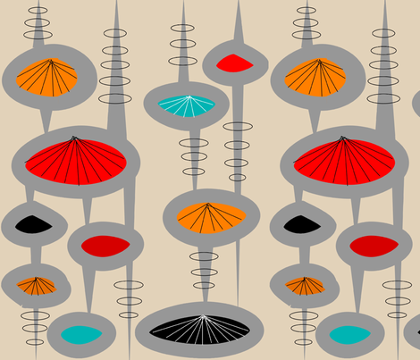 Atomic Space Age Cream fabric by hot4tees_bg@yahoo_com on Spoonflower - custom fabric