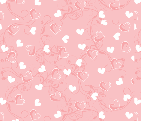 Pink and White Hearts fabric by puggy_bubbles on Spoonflower - custom fabric